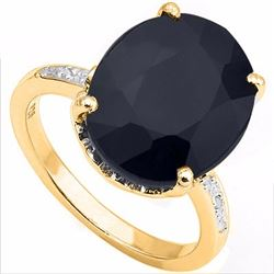 Natural Black Sapphire & Diamond 9.2 carats Ring