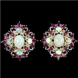 NATURAL OPAL CITRINE RHODOLITE  TOURMALINE Earring