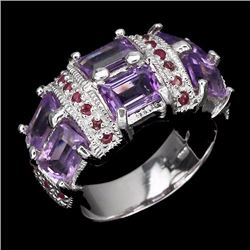 Natural Amethyst & Ruby Ring