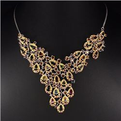 Natural Fancy Tourmaline Citrine Ruby 203 Ct Necklace