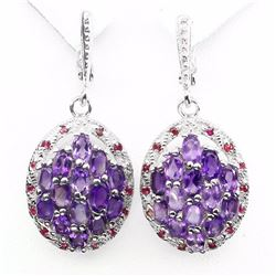 Natural Top Rich Purple Amethyst Red Ruby Earrings