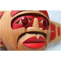West Coast Native Sun Mask with Natural Ruby Eyes