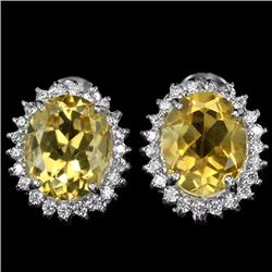 NATURAL 10X8 MM. ORANGISH YELLOW CITRINE EARRINGS