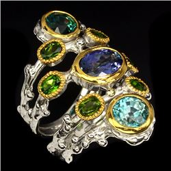 Natural Stunning Rich Blue Tanzanite, Zircon & Diopside Ring