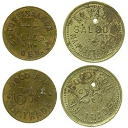 Two Nevada Saloon Tokens (Millers & Manhattan)