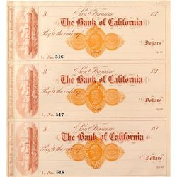 Rare RND Revenue Stamp on Bank of California checks Imprinted Pacific Mail Steam Ship Company