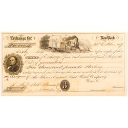 Rare Third of Exchange to Robert Benson for 10,000 Pounds Sterling, New York