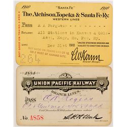 Early Union Pacific and AT&SF Railroad Passes