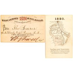 West Jersey Railroad 1880 Pass w/ Map on Reverse