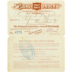 Clergy Half Rate Pass from the Pennsylvania Lines