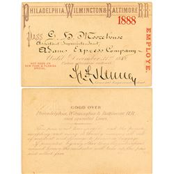 Philadelphia, Wilmington & Baltimore 1888 Railroad Pass