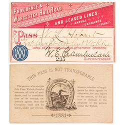 Providence & Worcester Rail Road 1881 Pass