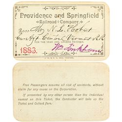 Providence and Springfield Railroad Company 1883 Pass