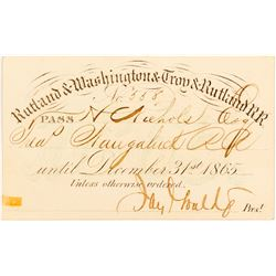 Jay Gould Signed Rutland & Washington & Troy & Rutland Railroad Pass, 1865