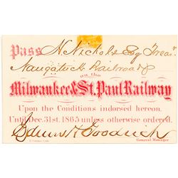 Milwaukee & St. Paul Railway Pass, 1865