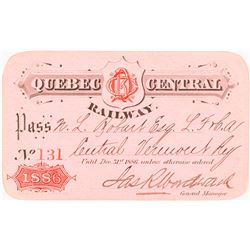 Quebec Central Railway 1886 Pass
