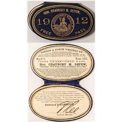 London & North Western Railroad Personalized Leather 1912 Pass