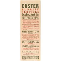 Easter Sunrise Services Broadside (Pacific Electric Railway)