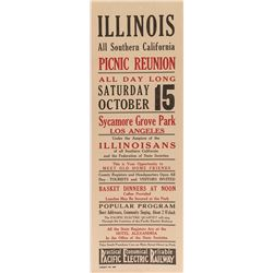 Illinois Picnic Reunion Broadside (Pacific Electric Railway)