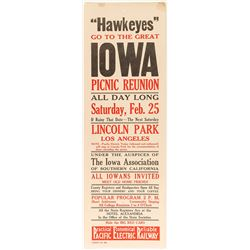 Iowa Picnic Reunion Broadside (Pacific Electric Railway)