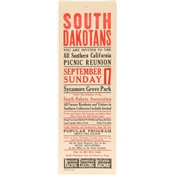 South Dakota Picnic Reunion Broadside (Pacific Electric Railway)