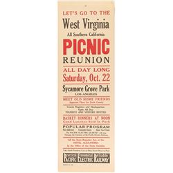 West Virginia Picnic Reunion Broadside (Pacific Electric Railway)