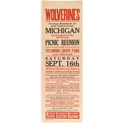 Wolverines Picnic Reunion Broadside (Pacific Electric Railway)