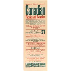 Canadian Picnic and Reunion Broadside (Pacific Electric Railway)