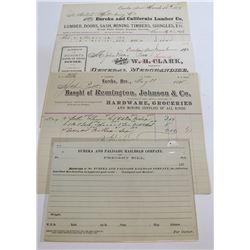 Eureka & Palisade Railroad Receipts and Freight Bills