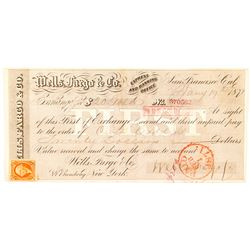"""Wells Fargo First of Exchange """"IN US GOLD COIN"""", 1871"""