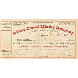 Altona Gravel Mining Company Stock Certificate, 1870, Grass Valley