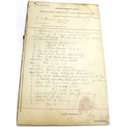 Kennedy Mining and Milling Co. Invoice Book, 1899-1900