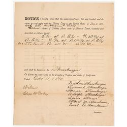 Rare Oil Mining Location Document for Ventura County, 1890