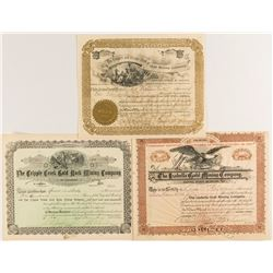 Three Different Cripple Creek Mining Stock Certificates