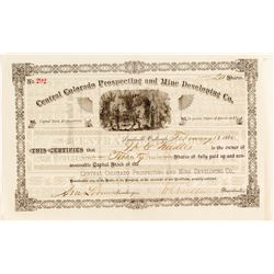 Central Colorado Prospecting and Mine Development Co. Stock Certificate, Leadville, 1880