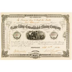 Game Ridge Consolidated Mining Co. Stock Certificate, Rosita, 1882