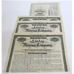 London Mining Company Bonds (7) c.1880s (Fairplay, Park County, Colorado)
