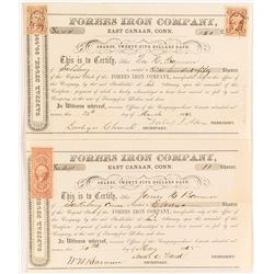 Two 1860s Forbes Iron Company Stock Certificates