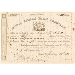 Pre-Civil War Hunts Lyman Iron Company Stock Certificate, Huntsville, CT