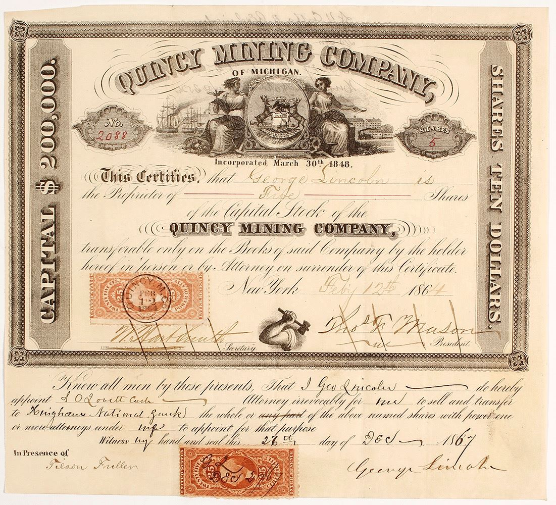 Quincy Mining Co Of Michigan Stock Certificate 1864