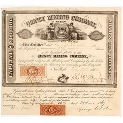 Quincy Mining Co. of Michigan Stock Certificate, 1864