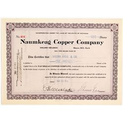 Naumkeag Copper Co. Stock Certificate, 1914