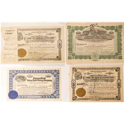 Four Diamondfield Mining Stock Certificates incl. January Jones signature