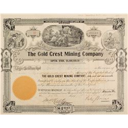 Gold Crest Mining Co. Stock Certificate, Gold Mountain, NV, 1905