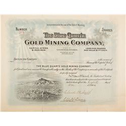 Blue Quartz Gold Mining Co. Stock Certificate w. Vignette of Goldfield, 1906