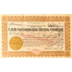 C.O.D. Consolidated Mining Co. Stock Certificate, Goldfield, 1914