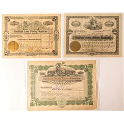Three Daisy Mining Area Stock Certificates (Goldfield, NV)