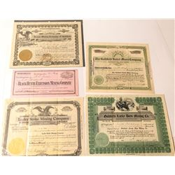 Five Goldfield Mining Stock Certificates