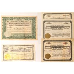 Five Jumbo Mining Stock Certificates