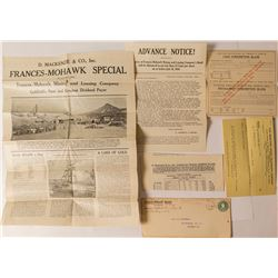 Frances-Mohawk Mining & Leasing Co. Promotional Material, Goldfield, NV